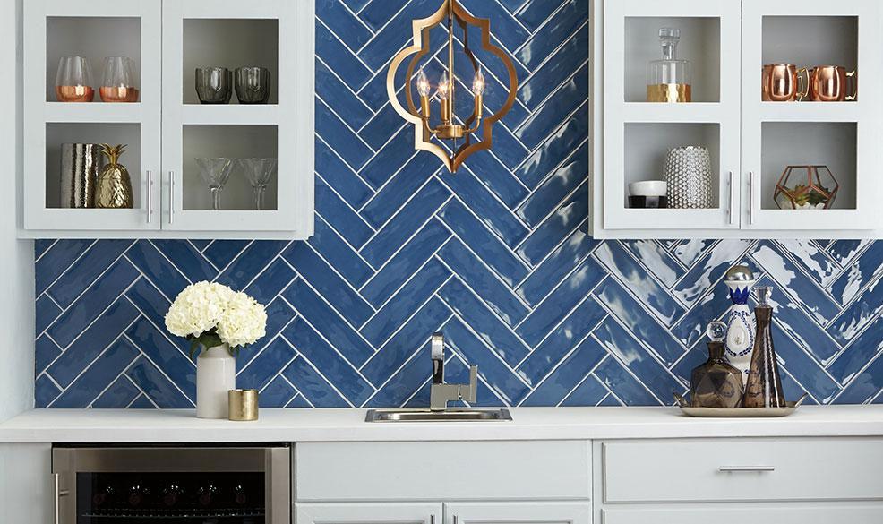 Blue tiles of cooktop | Haley's Flooring & Interiors